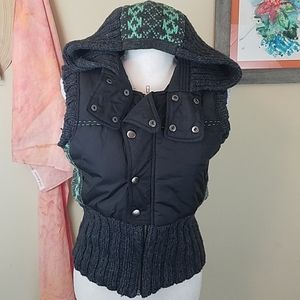 Free People Hooded Vest With wool knitted accents